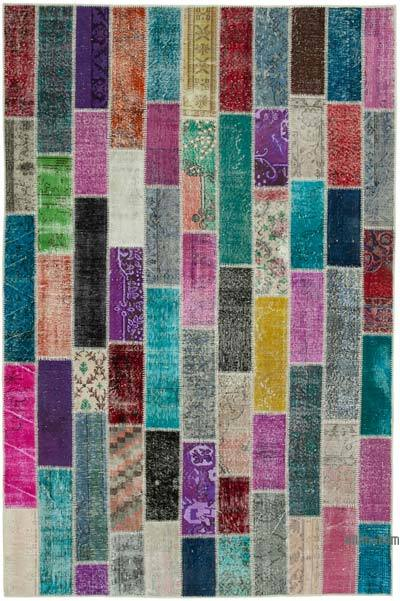 """Multicolor Patchwork Hand-Knotted Turkish Rug - 6' 6"""" x 9' 9"""" (78 in. x 117 in.)"""