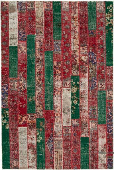 """Multicolor, Red Patchwork Hand-Knotted Turkish Rug - 6' 7"""" x 9' 11"""" (79 in. x 119 in.)"""