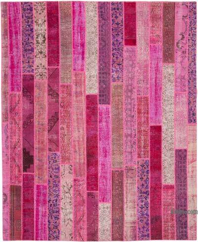 """Pink Patchwork Hand-Knotted Turkish Rug - 8' 2"""" x 10' 1"""" (98 in. x 121 in.)"""