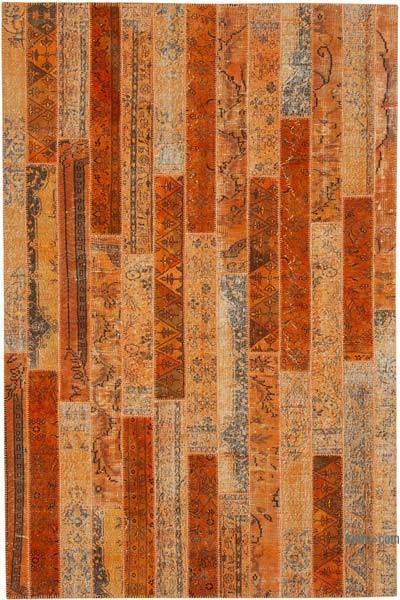 Turuncu Boyalı Patchwork Halı - 202 cm x 305 cm - 202 cm x 305 cm