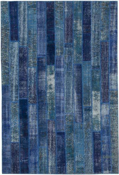 """Patchwork Hand-Knotted Turkish Rug - 6' 9"""" x 10' 1"""" (81 in. x 121 in.)"""
