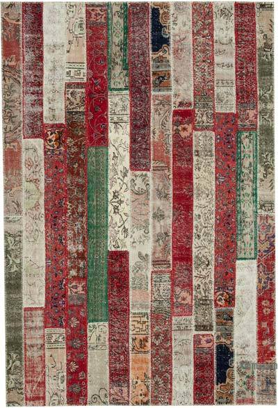 "Multicolor, Red Patchwork Hand-Knotted Turkish Rug - 6' 8"" x 9' 10"" (80 in. x 118 in.)"