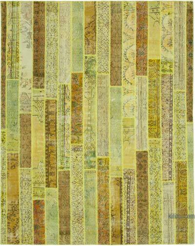 """Yellow Patchwork Hand-Knotted Turkish Rug - 8'  x 10' 1"""" (96 in. x 121 in.)"""