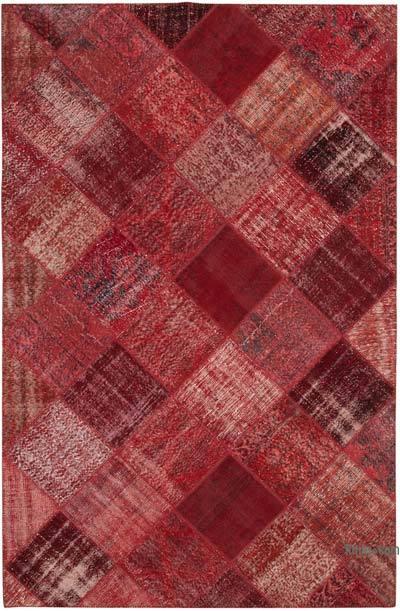 Kırmızı Boyalı Patchwork Halı - 197 cm x 304 cm - 197 cm x 304 cm