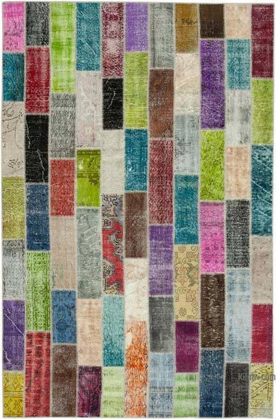 Çok Renkli Boyalı Patchwork Halı - 200 cm x 306 cm - 200 cm x 306 cm