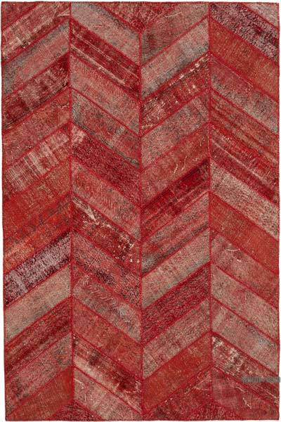 """Red Patchwork Hand-Knotted Turkish Rug - 6' 8"""" x 10'  (80 in. x 120 in.)"""
