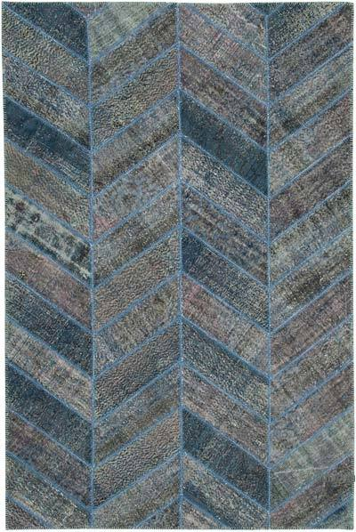 """Blue Patchwork Hand-Knotted Turkish Rug - 6' 6"""" x 9' 10"""" (78 in. x 118 in.)"""