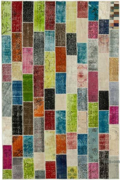 Multicolor Alfombra De Retazos Turca Sobre-teñida - 202 cm x 305 cm
