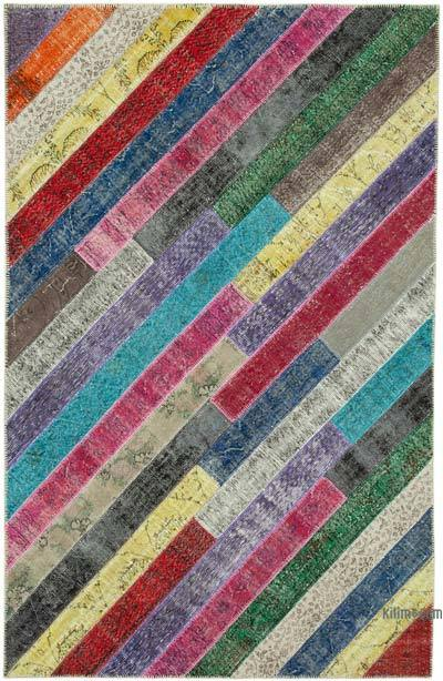 """Multicolor Patchwork Hand-Knotted Turkish Rug - 6' 6"""" x 10'  (78 in. x 120 in.)"""