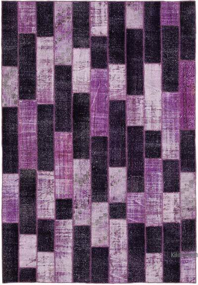 """Patchwork Hand-Knotted Turkish Rug - 6' 9"""" x 9' 10"""" (81 in. x 118 in.)"""