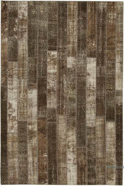 "Brown Patchwork Hand-Knotted Turkish Rug - 6' 9"" x 10'  (81 in. x 120 in.)"