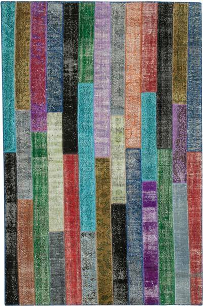 "Multicolor Patchwork Hand-Knotted Turkish Rug - 6' 6"" x 9' 11"" (78 in. x 119 in.)"