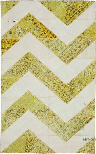 """Patchwork Hand-Knotted Turkish Rug - 6' 7"""" x 10' 6"""" (79 in. x 126 in.)"""