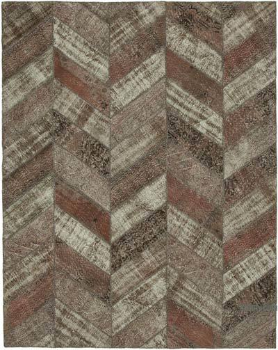 """Brown Patchwork Hand-Knotted Turkish Rug - 8' 1"""" x 10' 2"""" (97 in. x 122 in.)"""