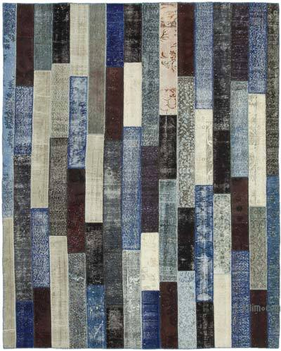 """Patchwork Hand-Knotted Turkish Rug - 8' 2"""" x 10' 1"""" (98 in. x 121 in.)"""