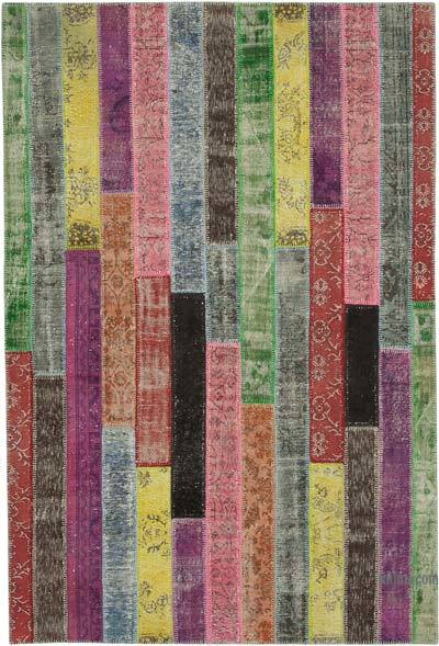 """Multicolor Patchwork Hand-Knotted Turkish Rug - 6' 7"""" x 9' 10"""" (79 in. x 118 in.)"""