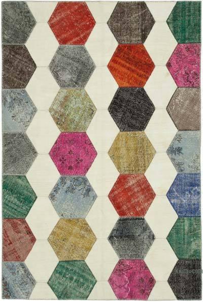 Çok Renkli Boyalı Patchwork Halı - 195 cm x 288 cm - 195 cm x 288 cm