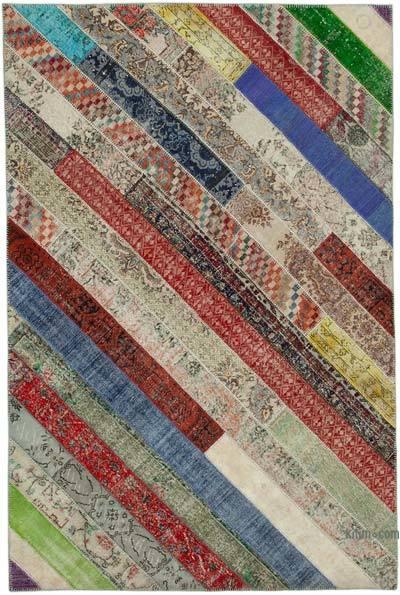 Çok Renkli Patchwork El Dokuma Halı - 204 cm x 308 cm - 204 cm x 308 cm