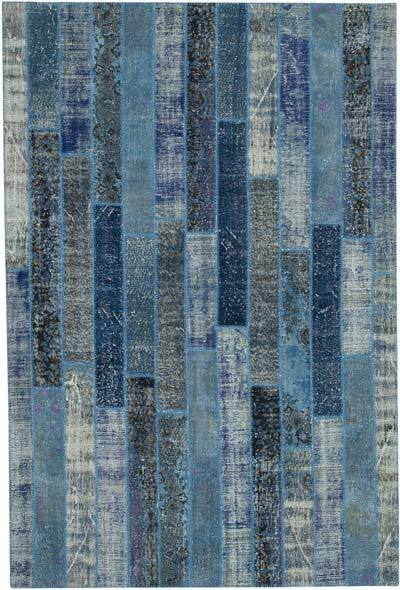 "Blue Patchwork Hand-Knotted Turkish Rug - 6' 9"" x 10'  (81 in. x 120 in.)"