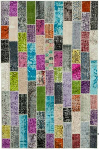 "Multicolor Patchwork Hand-Knotted Turkish Rug - 6' 7"" x 9' 11"" (79 in. x 119 in.)"
