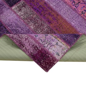"""Purple Patchwork Hand-Knotted Turkish Rug - 6' 9"""" x 10'  (81 in. x 120 in.) - K0051263"""