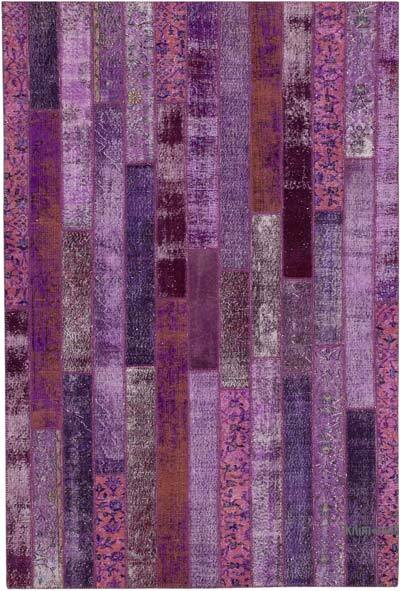 """Purple Patchwork Hand-Knotted Turkish Rug - 6' 9"""" x 10'  (81 in. x 120 in.)"""