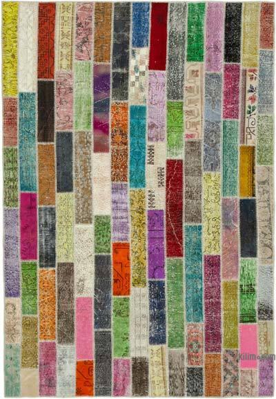 Çok Renkli Boyalı Patchwork Halı - 210 cm x 306 cm - 210 cm x 306 cm