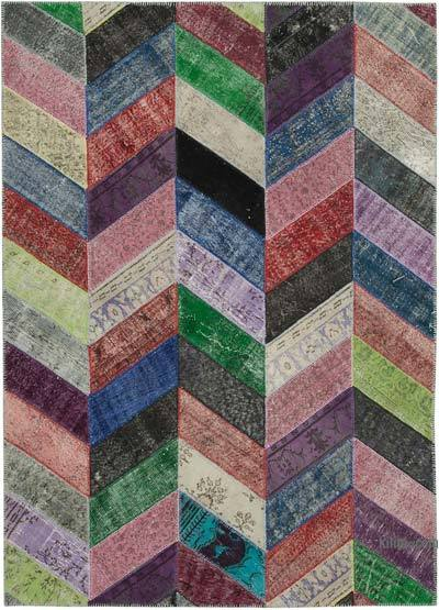 "Patchwork Hand-Knotted Turkish Rug - 7' 1"" x 9' 11"" (85 in. x 119 in.)"