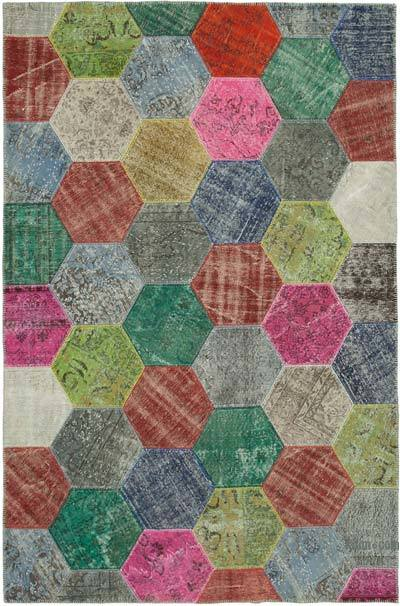 "Patchwork Hand-Knotted Turkish Rug - 6' 8"" x 10'  (80 in. x 120 in.)"