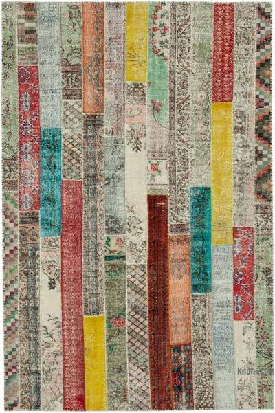 """Multicolor, Red Patchwork Hand-Knotted Turkish Rug - 6' 8"""" x 10'  (80 in. x 120 in.)"""