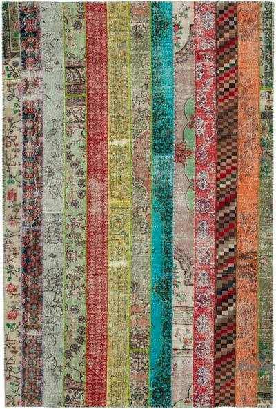 """Multicolor Patchwork Hand-Knotted Turkish Rug - 6' 8"""" x 10'  (80 in. x 120 in.)"""