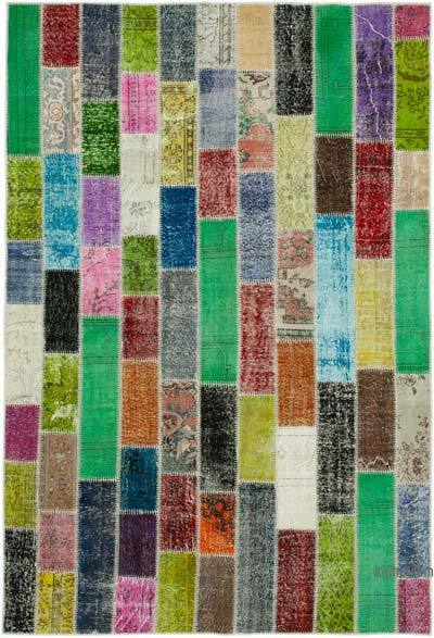 """Multicolor Patchwork Hand-Knotted Turkish Rug - 6' 7"""" x 9' 8"""" (79 in. x 116 in.)"""