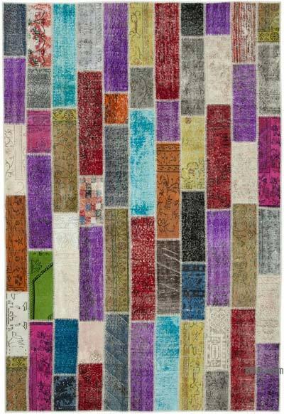 Çok Renkli Boyalı Patchwork Halı - 203 cm x 300 cm - 203 cm x 300 cm