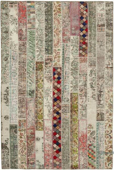 "Multicolor, Red Patchwork Hand-Knotted Turkish Rug - 6' 8"" x 10'  (80 in. x 120 in.)"