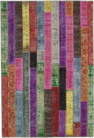 """Patchwork Hand-Knotted Turkish Rug - 6' 9"""" x 9' 11"""" (81 in. x 119 in.)"""