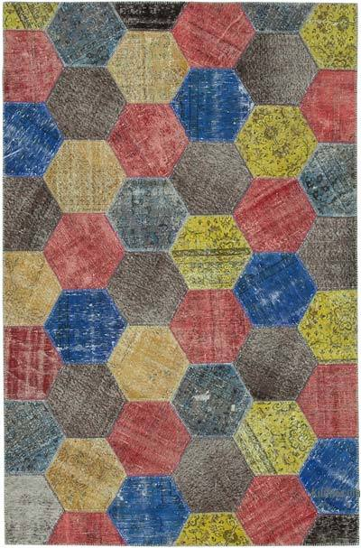 """Multicolor, Red Patchwork Hand-Knotted Turkish Rug - 6' 8"""" x 10' 2"""" (80 in. x 122 in.)"""