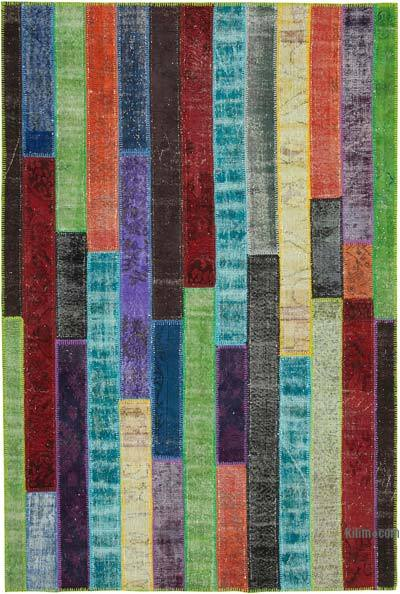 "Multicolor Patchwork Hand-Knotted Turkish Rug - 6' 8"" x 9' 11"" (80 in. x 119 in.)"