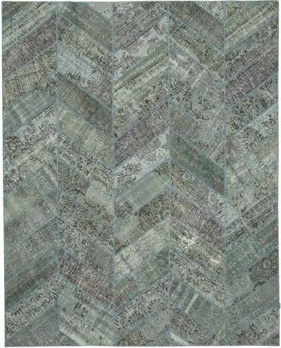 "Patchwork Hand-Knotted Turkish Rug - 8' 2"" x 10' 1"" (98 in. x 121 in.)"