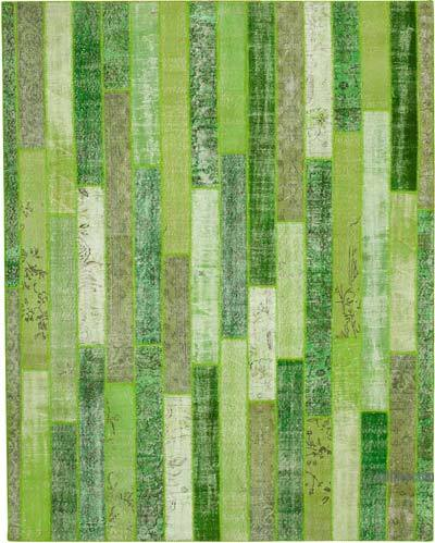 """Patchwork Hand-Knotted Turkish Rug - 8'  x 10' 1"""" (96 in. x 121 in.)"""