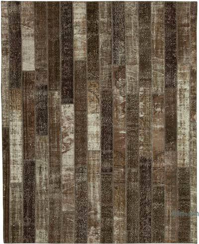 """Brown Patchwork Hand-Knotted Turkish Rug - 8' 2"""" x 10' 1"""" (98 in. x 121 in.)"""