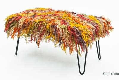 Mohair Bench with Hairpin Legs