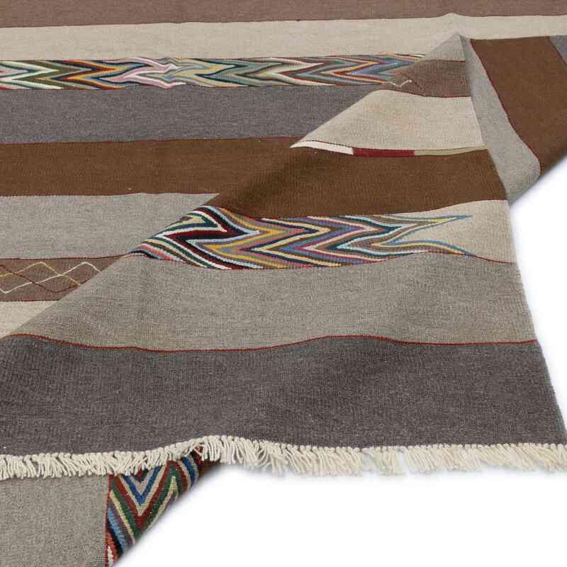 Bej, Kahverengi Yeni Kök Boya El Dokuma Kilim - 252 cm x 343 cm - K0051356