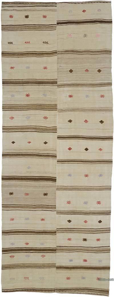 """Beige, Brown Vintage Turkish Kilim Rug - 4' 3"""" x 11' 4"""" (51 in. x 136 in.)"""