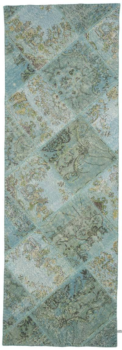 """Blue Patchwork Hand-Knotted Turkish Runner - 3' 4"""" x 10'  (40 in. x 120 in.)"""