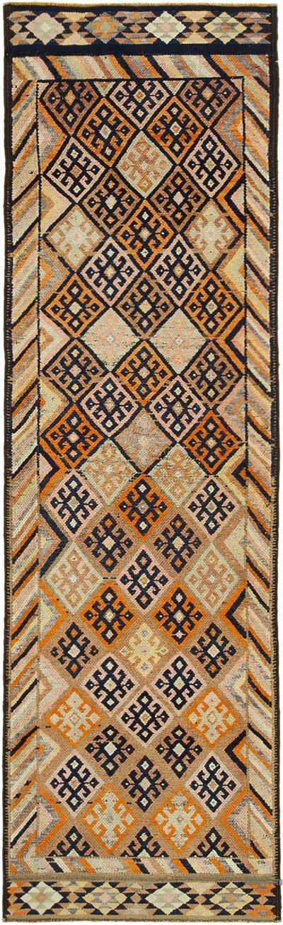 "Vintage Turkish Runner Rug - 2' 11"" x 10'  (35 in. x 120 in.)"