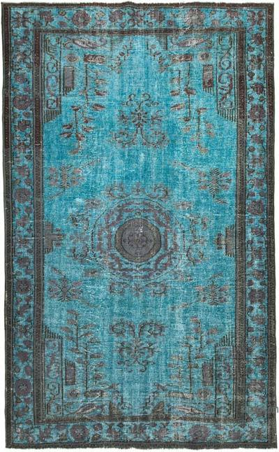 """Blue, Grey Hand Carved Over-Dyed Rug - 6' 6"""" x 10' 6"""" (78 in. x 126 in.)"""