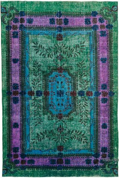 """Green Hand Carved Over-Dyed Rug - 7' 2"""" x 10' 8"""" (86 in. x 128 in.)"""