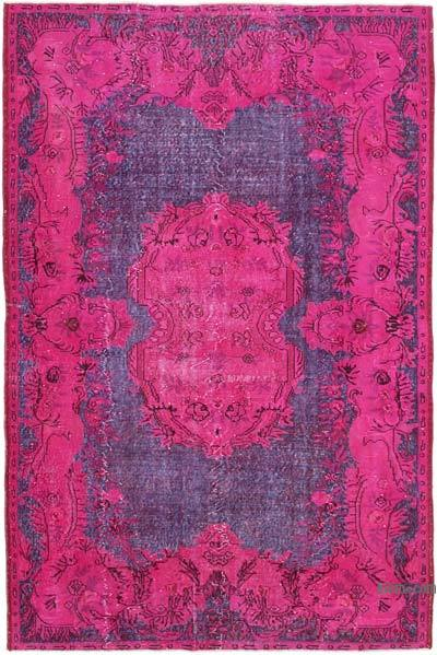 "Pink, Purple Hand Carved Over-Dyed Rug - 6' 4"" x 9' 5"" (76 in. x 113 in.)"