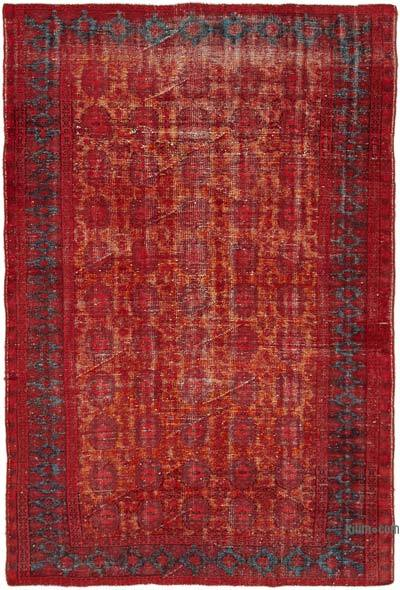 """Red, Orange Hand Carved Over-Dyed Rug - 5' 11"""" x 8' 8"""" (71 in. x 104 in.)"""
