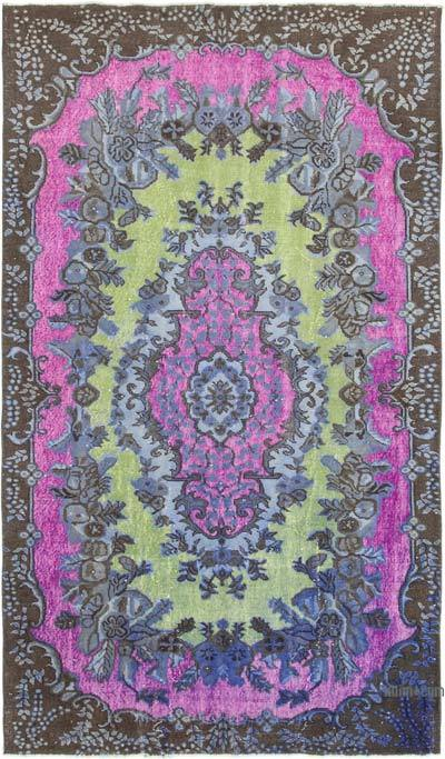 "Multicolor Hand Carved Over-Dyed Rug - 5' 7"" x 9' 7"" (67 in. x 115 in.)"